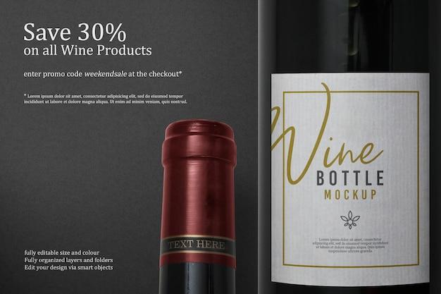 Wijnfles label mockup ontwerp geïsoleerd