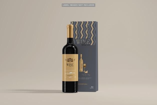 Wijnfles met boodschappentas mockup