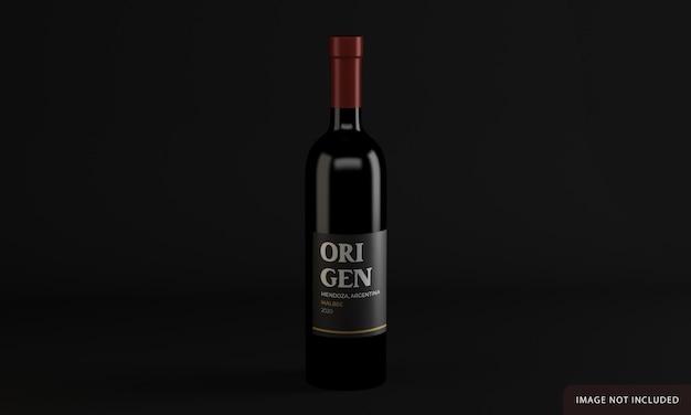 Wijnfles met label mockup design