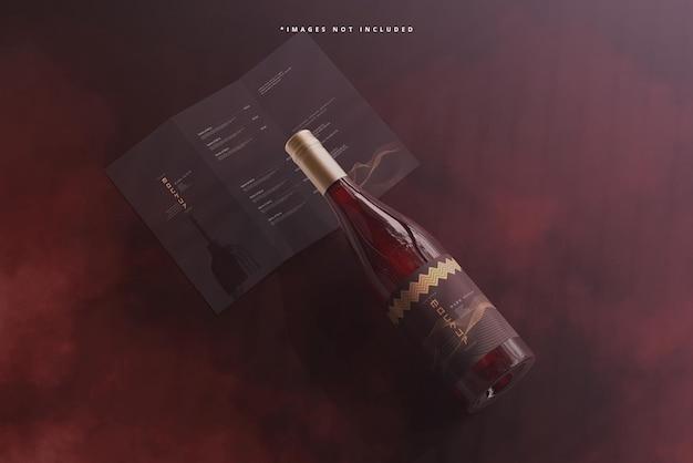 Wijnfles met schroefdop met brochure of menumodel