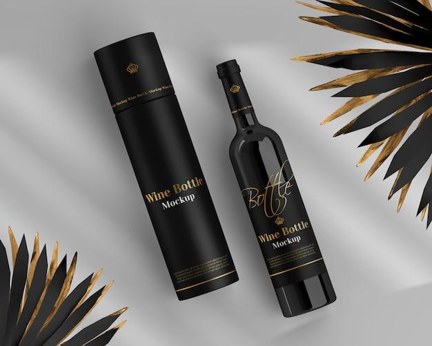 Wijnflessenmodel met ronde doos en palm
