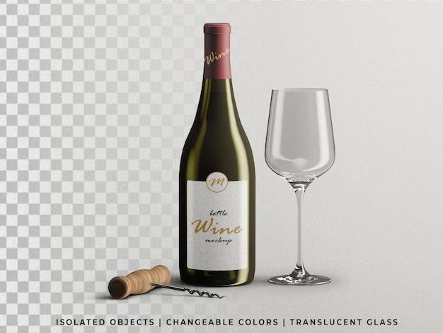 Wijnflesverpakkingsmodel met leeg glas en kurkentrekker vooraanzicht geïsoleerd
