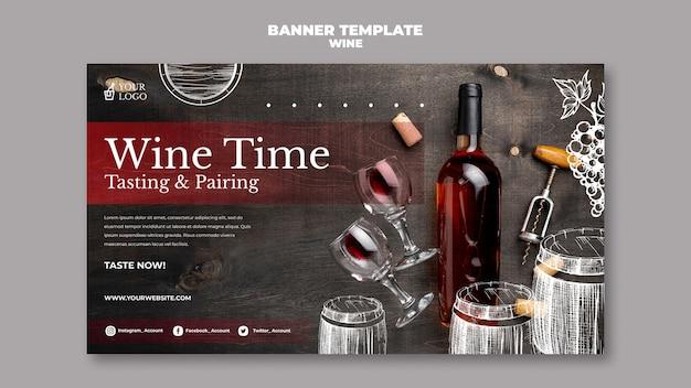 Wijnproeverij banner sjabloonontwerp
