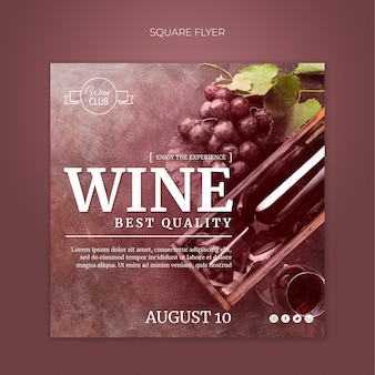 Wijnproeverij vierkante flyer-sjabloon