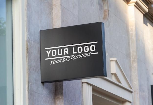 Winkel merk teken mockup