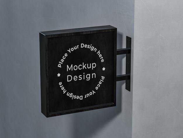 Winkel uithangbord mockup-ontwerp in 3d-rendering
