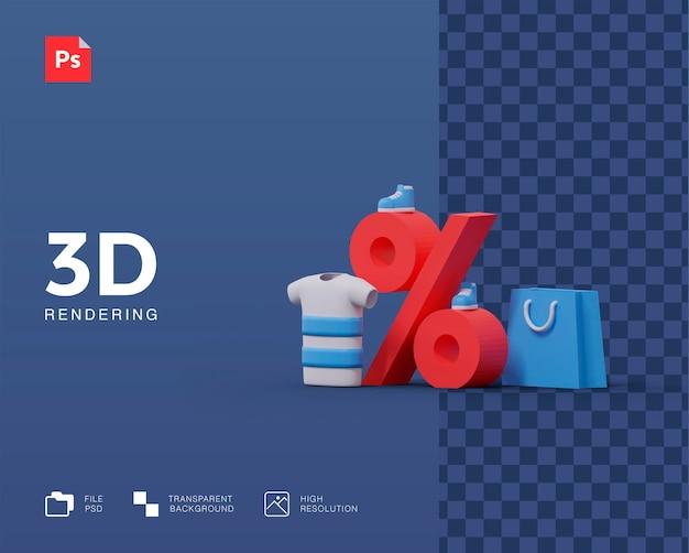 Winkelen korting 3d illustratie Premium Psd