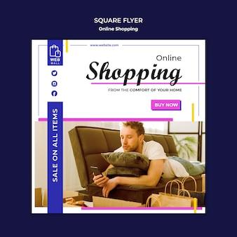 Winkelen online concept vierkante flyer-sjabloon
