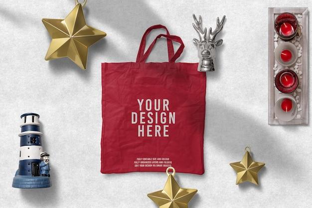 Winkelen papieren zak kerstdecoratie mockup