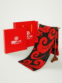Winkelen papieren zak logo mockup