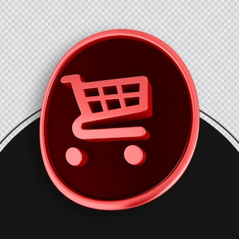 Winkelen pictogram rood 3d-rendering