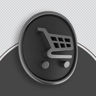 Winkelen pictogram zwart 3d-rendering