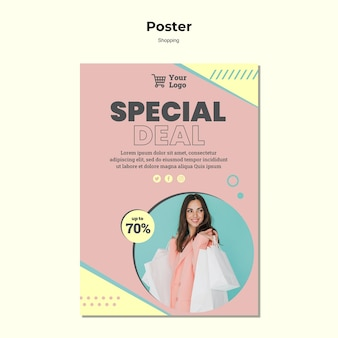 Winkelen speciale verkoop poster sjabloon