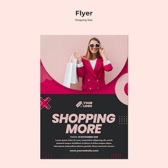Winkelen verkoop sjabloon folder met foto