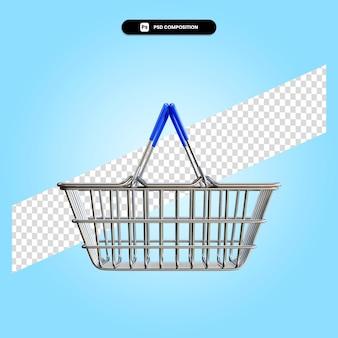 Winkelmandje 3d render illustratie geïsoleerd