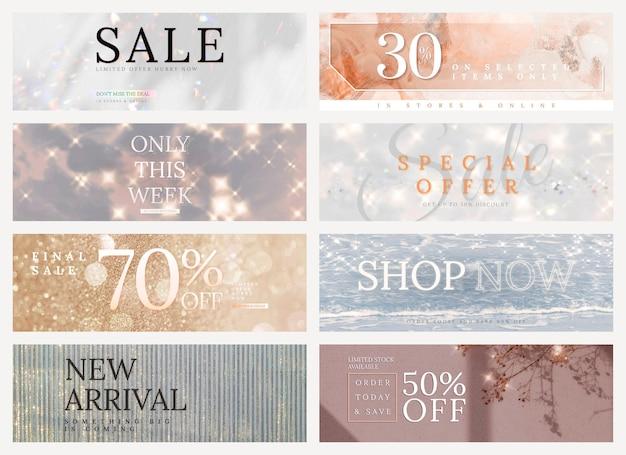 Winkelverkoop bewerkbare sjabloon psd glitter set voor advertenties op sociale media