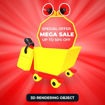 Winkelwagentje en megafoon met mega sale speciale aanbieding 50 korting 3d render geïsoleerd