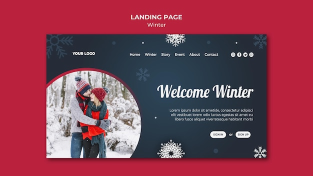 Winter concept bestemmingspagina sjabloon