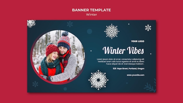 Winter concept sjabloon voor spandoek