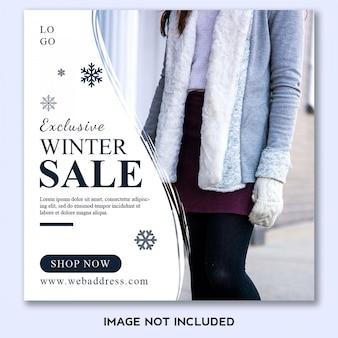 Winter verkoop sjabloonontwerp spandoek voor sociale media