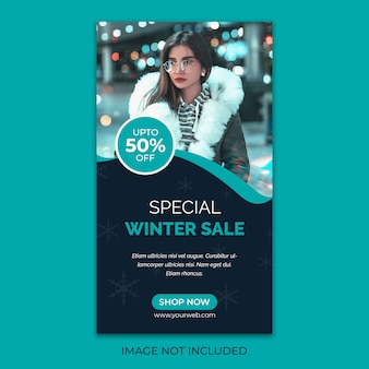 Winter verkoop sociale media post sjabloon