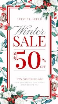 Winter verkoopverhaal met handgetekende florale decoratie