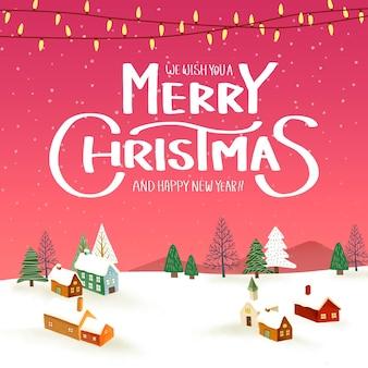 Winterlandschap met merry christmas achtergrond sjabloon