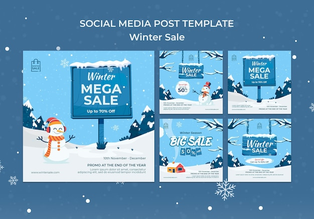 Winteruitverkoop social media post ontwerpsjabloon