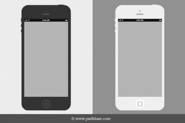 Wireframe piatto mockup iphone psd