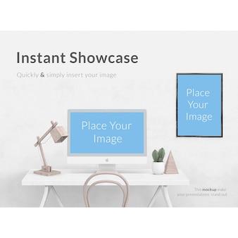 Wit bureau wit computer en frame mock up