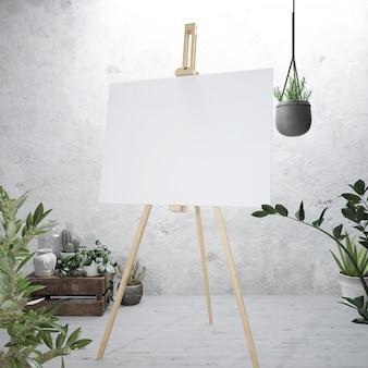 Wit canvas op een ezel