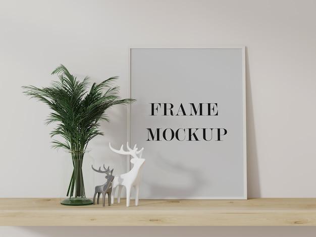 Wit frame dat tegen muur 3d teruggevende mockup leunt