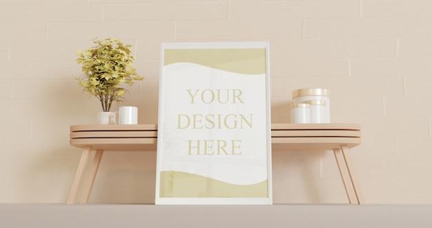 Wit horizontaal frame mockup staande op de vloer met houten woonkamer tafel