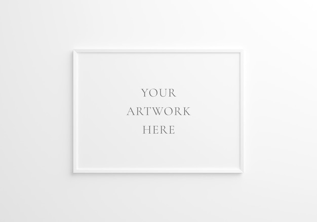 Wit horizontaal framemodel op witte muur. 3d-rendering.