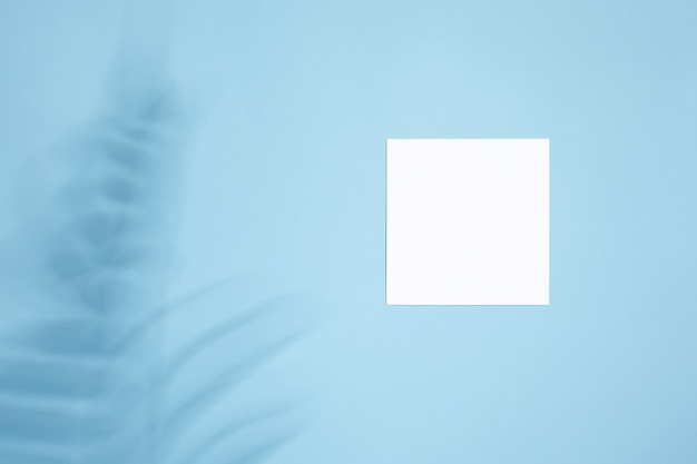 Wit leeg leeg kaartmodel met bloemenschaduwen