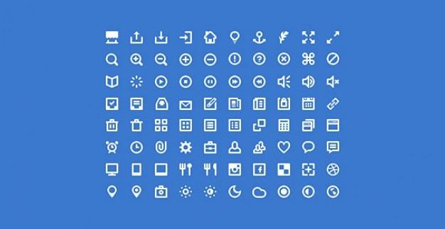 Wit pictogram & doopvont psd collectie