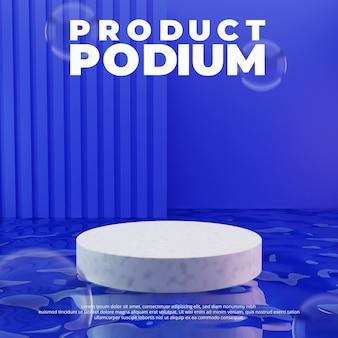 Wit podium op water geïsoleerd op paarse achtergrond