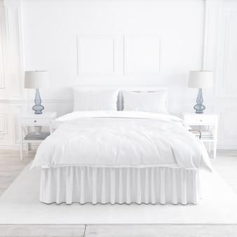 Wit slaapkamermodel met decoratieve elementen