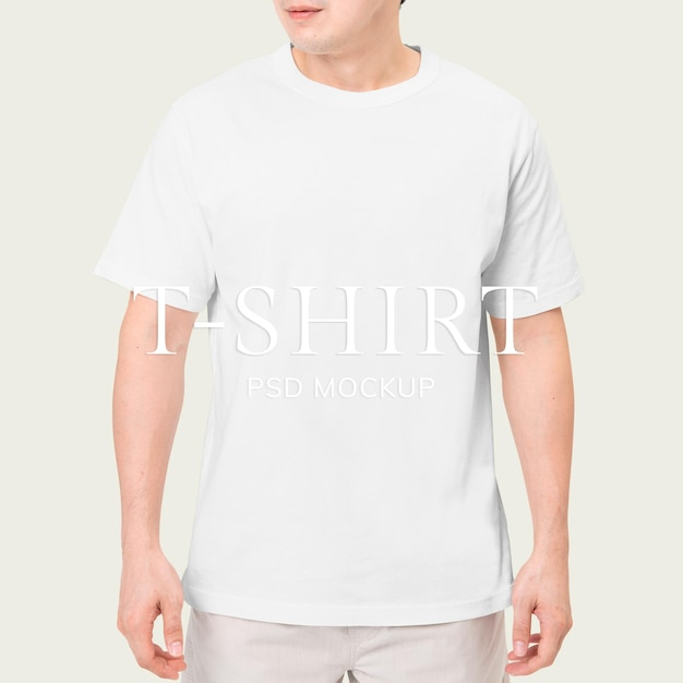 Wit t-shirt psd mockup voor herenkleding