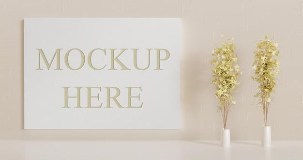 Witboek bord mockup op de muur. mockup met papercut-effect op het canvas.