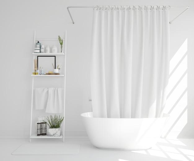 Witte badkuip met gordijn en plank