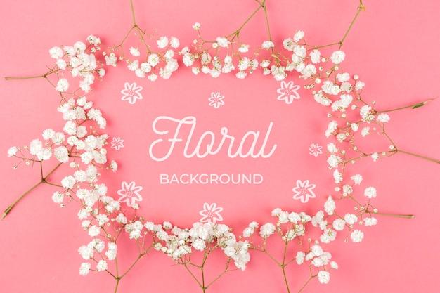 Witte bloemen frame mockup