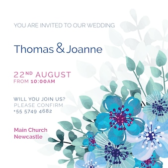 Witte bruiloft uitnodiging met blauw geschilderde bloemen