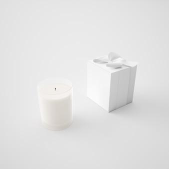 Witte doos en kaars