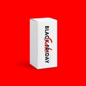 Witte doos hoge vorm productverpakking met zwarte vrijdag tekst