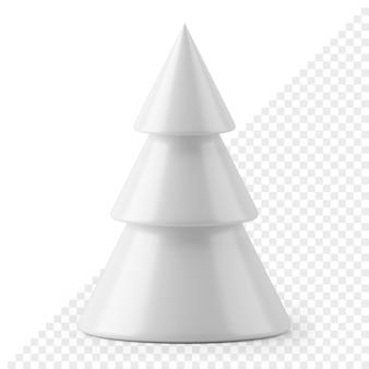 Witte drievoudige kegel nieuwjaarsboom 3d render