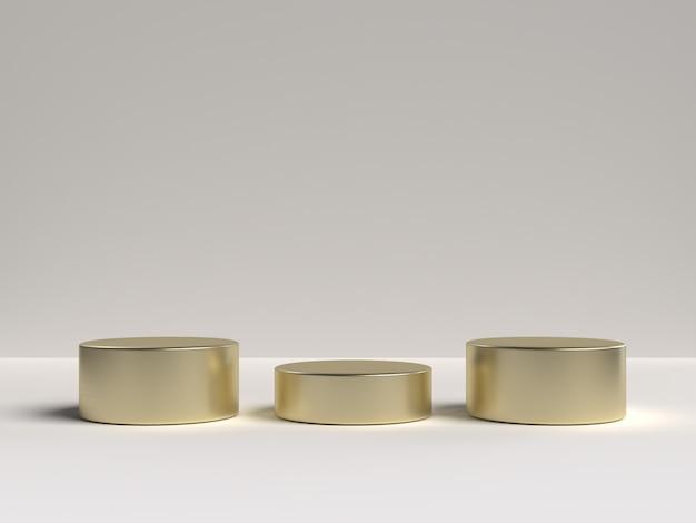 Witte en gouden 3d-weergave van abstracte scène geometrie vorm podium voor productweergave