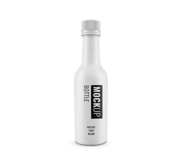 Witte fles met mini-mockup met wit deksel