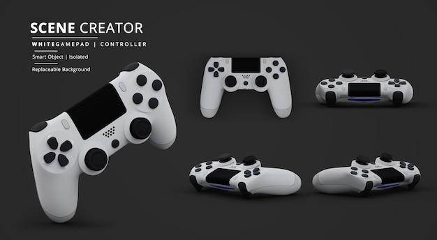 Witte gamepad-videogamecontroller in donkere achtergrondscèneschepper