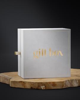 Witte geschenk juwelendoos mockup op houten plank voor branding 3d render